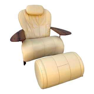 Pacific Green Palmwood and Leather Lounge Chair and Ottoman For Sale