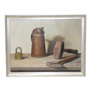 """John T. Axton III (1922-2009) """"Tools of the Trade"""" Realism Still Life Oil Painting For Sale"""