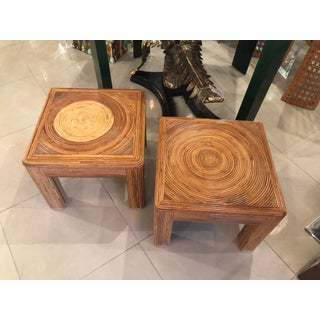 Vintage Tropical Boho Palm Beach Pencil Reed Rattan Stools Benches Coffee Tables -A Pair Preview
