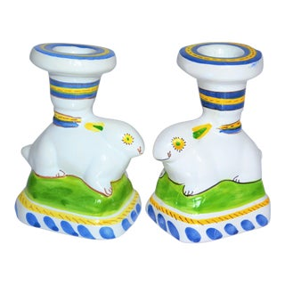 Vintage Majolica Rabbit Candle Holders - a Pair For Sale