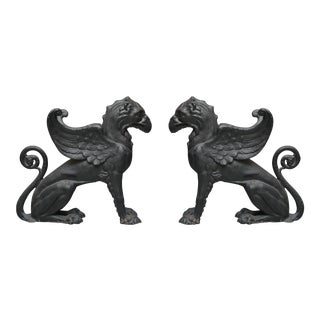 Pair of Black Painted Cast Iron Gryphons
