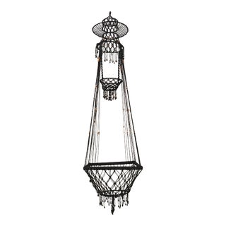 Vintage Bohemian Beaded Macrame Hanging w/ Baskets