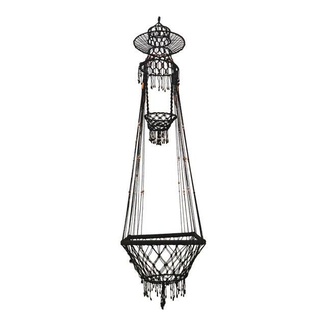 Vintage Bohemian Beaded Macrame Hanging w/ Baskets - Image 1 of 11