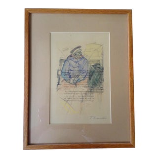 French Text Man and Dog Painting For Sale