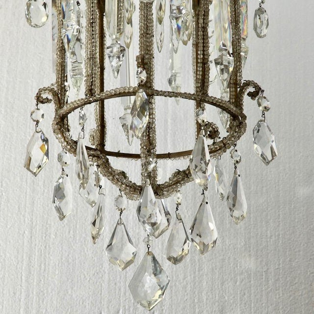 French Crystal Lantern Style Chandelier with Beading - Image 4 of 5