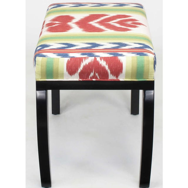 Pair of Interior Crafts Black Lacquer and Ikat Benches - Image 6 of 8
