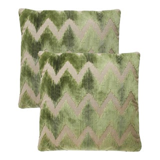 Lee Jofa Watersedge Green Velvet Pillows - Set of 2 For Sale