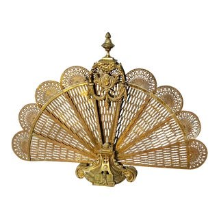 Vintage Brass Old Peacock Style Fan Fireplace Screen For Sale