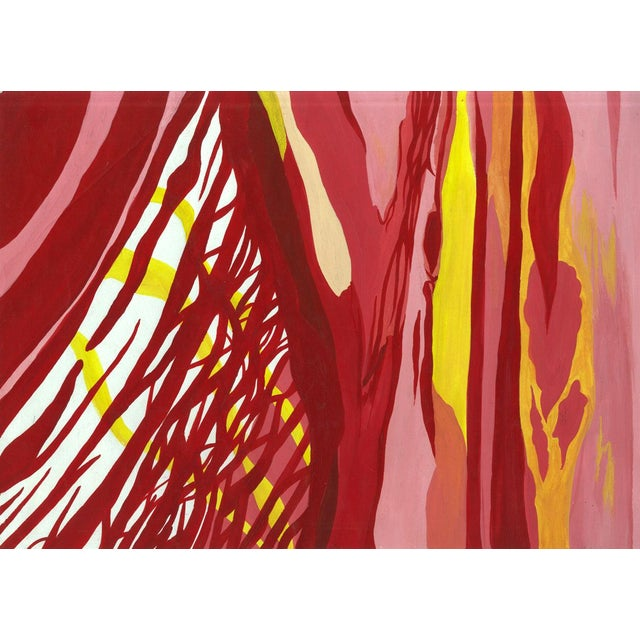 Abstract Reds & Yellows Abstract Painting For Sale - Image 3 of 3