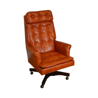 Classic Leather Mid Century Modern Tufted Orange Office Desk Chair For Sale