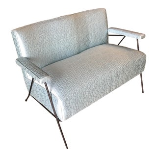 Atomic Mid Century Loveseat Sofa With Iron Legs For Sale