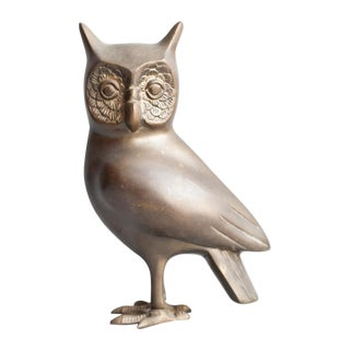 Large Vintage Brass Owl For Sale