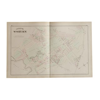 Antique Woburn Massachusetts Atlas Map Plate F For Sale
