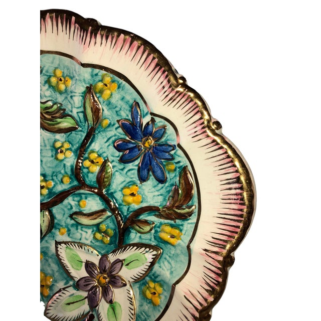 Italian Hand Painted Vintage Floral Majolica Ewer and Platter - Two Piece Set For Sale - Image 4 of 8