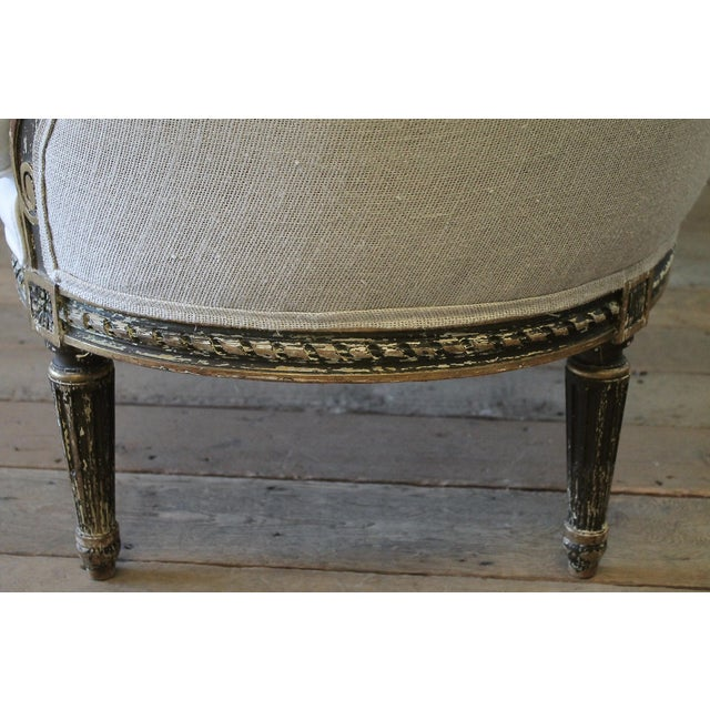 White 19th Century Louis XVI Style French Settee Upholstered in Antique Grain Sack For Sale - Image 8 of 13
