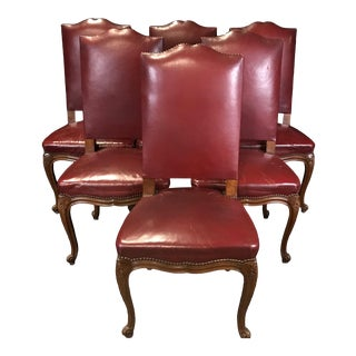 Mid 19th Century French Louis XV Style Walnut and Leather Dining Chairs- Set of 6 For Sale