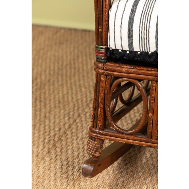 1920s Bent Wood Rocking Chair With Injiri Upholstery For Sale In Los Angeles - Image 6 of 8