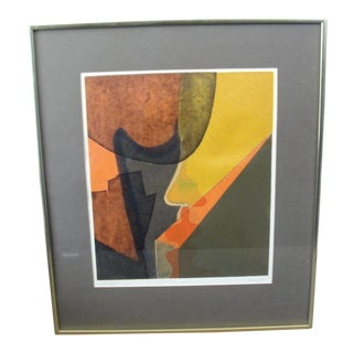 Vintage Abstract Silkscreen by Em Duffy, Sunday 1968 For Sale