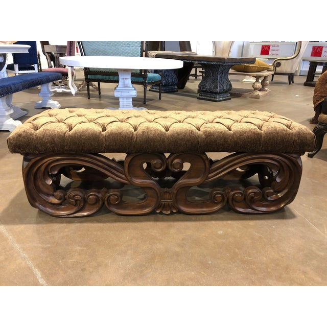 Handcrafted Solid Wood Tufted Tuscan Wall Bedroom Bench