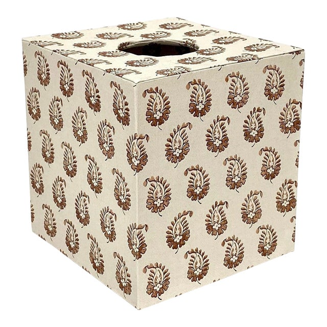French Cartonnage Tissue Box Cover in Howe London Paisley Print For Sale