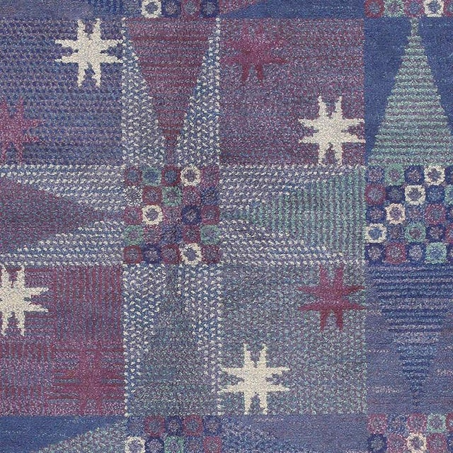 This Mid-Century Scandinavian carpet depicts a stunning pattern of tiled geometric stars accompanied by textural accents...