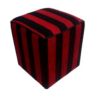 Arshs Domitila Red/Black Kilim Upholstered Handmade Ottoman For Sale