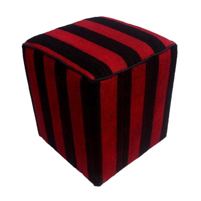 Arshs Domitila Red/Black Kilim Upholstered Handmade Ottoman For Sale
