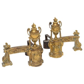 Louis XV Gilt Bronze Chenets - A Pair For Sale