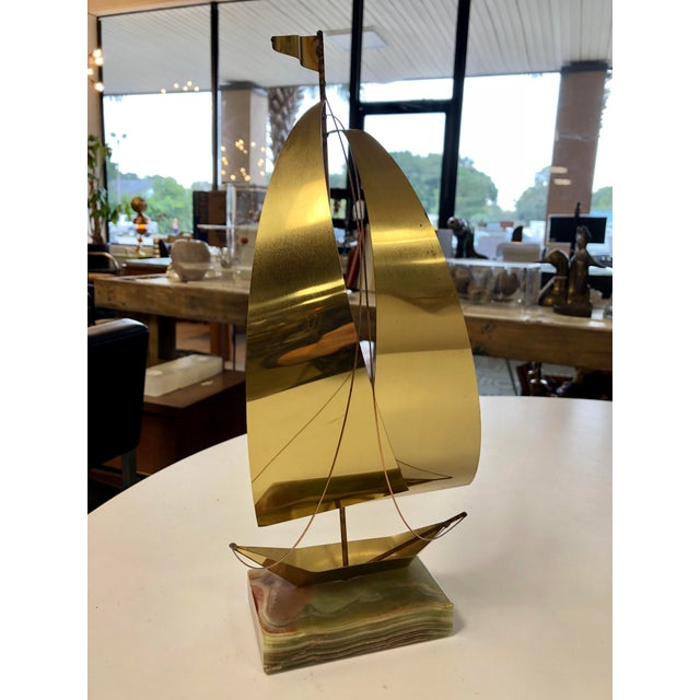 Mid-Century Modern Brass Sailboat Sculpture on Banded Marble Base For Sale In Charleston - Image 6 of 6