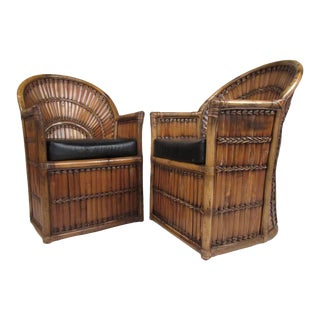 Boho Modern Bamboo Side Chairs- A Pair For Sale