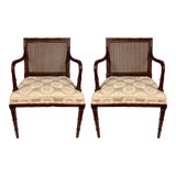 Image of Pair of Regency Style Faux Bamboo Arm Chairs by Hickory Chair For Sale