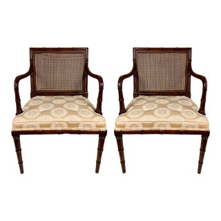 Pair of Regency Style Faux Bamboo Arm Chairs by Hickory Chair For Sale