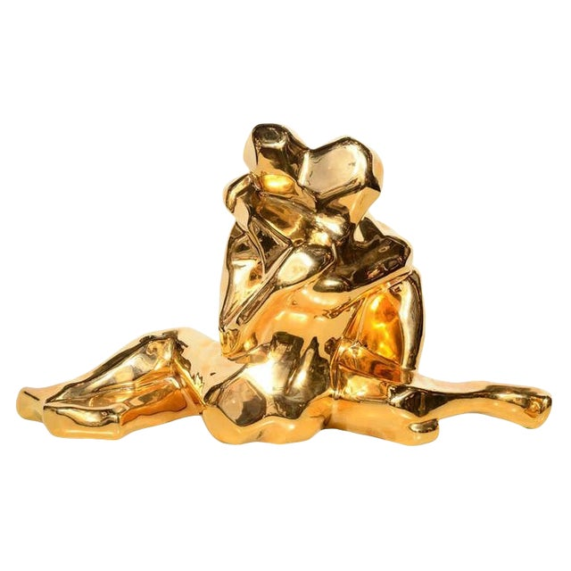 Mid-Century Modern 24-Karat Gold Plated Ceramic Cubist Sculpture by Jaru For Sale