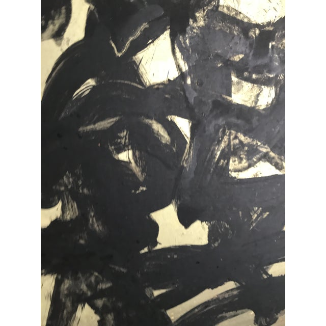Onyx Vintage Mid Century Modern Abstract Oil Painting on Board- Signed For Sale - Image 8 of 10