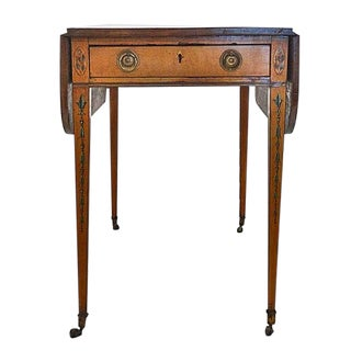 English George III Painted Satinwood Pembroke Table For Sale