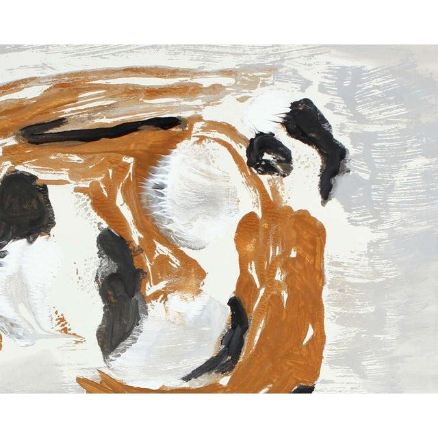 This late 20th century abstract monotype on paper is by Northern California artist, poet, and playwright Gwen Stone...