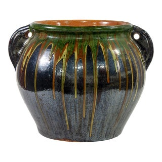 Large European Drip Glaze Black Ceramic Pot For Sale