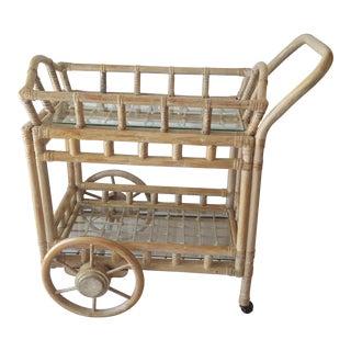 Boho Chic Rattan Bamboo Bar Cart For Sale
