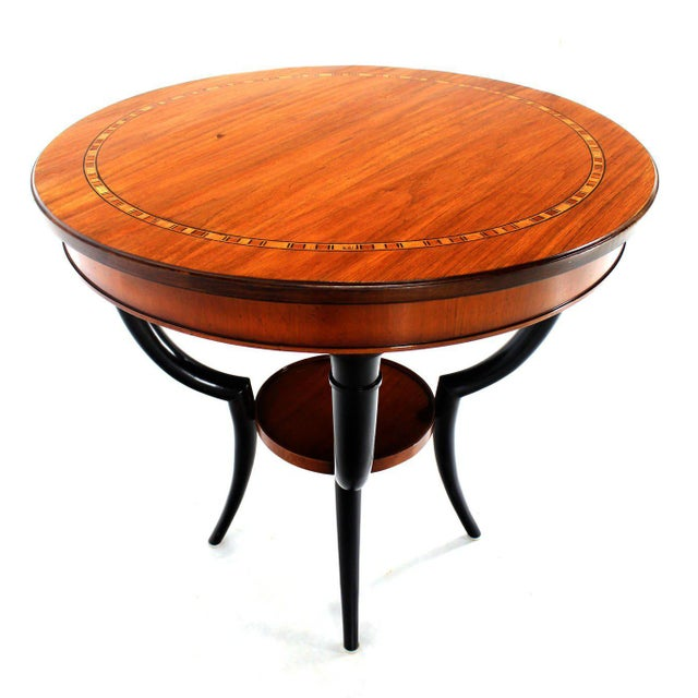 Baker Two-Tone Round Gueridon or Center Drum Table For Sale - Image 9 of 10