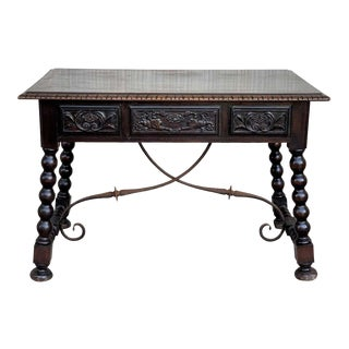 19th Century Spanish Baroque Style Oak Library Table or Desk For Sale