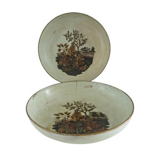 Mid 19th Century Vintage French Papier Mache Chinoiserie Bowls- a Pair For Sale