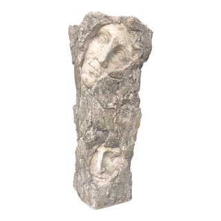 Vintage Modern Contemporary Sculptural Two Face Vase For Sale