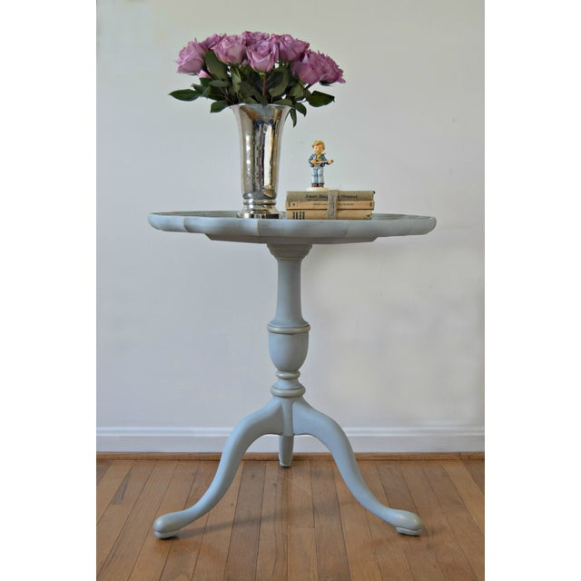 Paint 20th Century Shabby Chic Pie Crust Trim Gray Side Table For Sale - Image 7 of 9