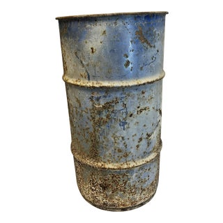 Vintage Industrial Blue Metal Barrel