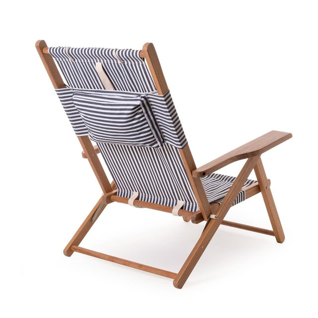 Meet our practical yet beautiful TOMMY chair in the Lauren's Navy Stripe and natural wood finish. The Tommy Chair is...