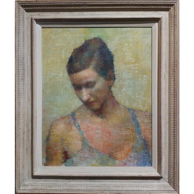 Stevan Kissel - Portrait of a Female Dancer - Oil Painting - Pointillism For Sale - Image 13 of 13