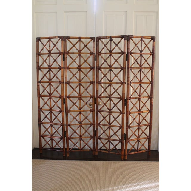 Bamboo Vintage Bamboo Rattan Folding Room Divider For Sale - Image 7 of 12