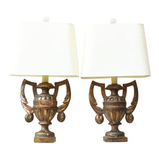 Gilded Wood Urns Shaped Lamps Circa 1890 - a Pair For Sale