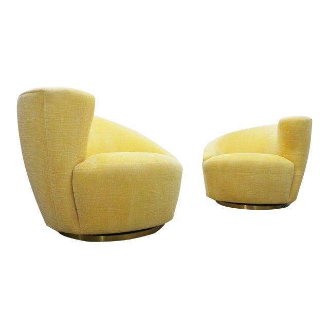 "Post Modern Vladimir Kagan for Weiman Swivel ""Nautilus"" Corkscrew Club Chairs- A Pair For Sale"