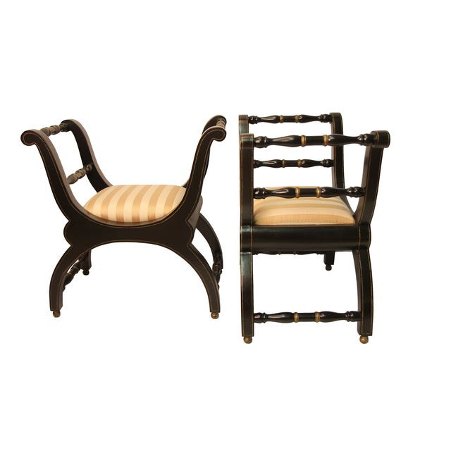 Italian Black & Gold Benches - A Pair - Image 2 of 4